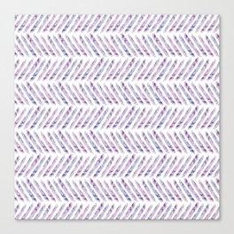 Herringbone - in purple watercolour Canvas Print