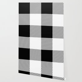 Black and White Buffalo Plaid Wallpaper