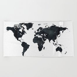 World Map in Black and White Ink on Paper Beach Towel