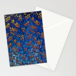 Royal blue and gold fall leaf pattern, modern,chic,Royal blue, gold ,fall leaf, pattern, modern,chic Stationery Cards