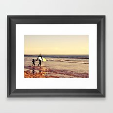 Father and son surfing colour Framed Art Print