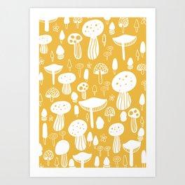 Forest Mushrooms Yellow Art Print