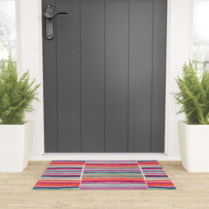 Rainbow Lines Welcome Mat