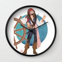 jack sparrow Wall Clocks featuring Captain Jack Sparrow by Lili's Damn Fine Shop