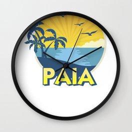 Vintage Paia Maui Shirt, Island Surfing 70s Retro Wall Clock