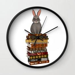 rabbit on books Wall Clock