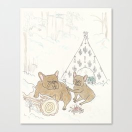 Cute French Bulldogs Camping and Toasting Marshmallows Canvas Print