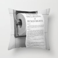 toilet Throw Pillows featuring Toilet Paper by Natalia Delgado