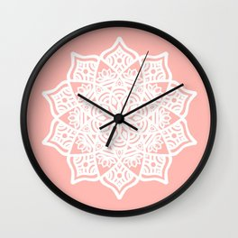 Pink Lotus Pastel Mandala Wall Clock