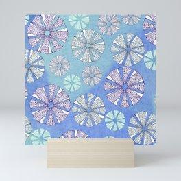 sea urchin blue watercolor Mini Art Print