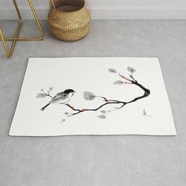 Bird on tree black and white painting Rug