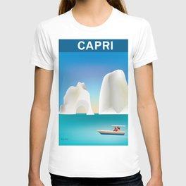 Capri, Italy- Skyline Illustration by Loose Petals T-shirt