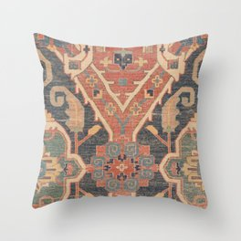 Geometric Leaves IV // 18th Century Distressed Red Blue Green Colorful Ornate Accent Rug Pattern Throw Pillow