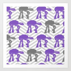 Star Wars At-Ats in Grays and Purple Art Print
