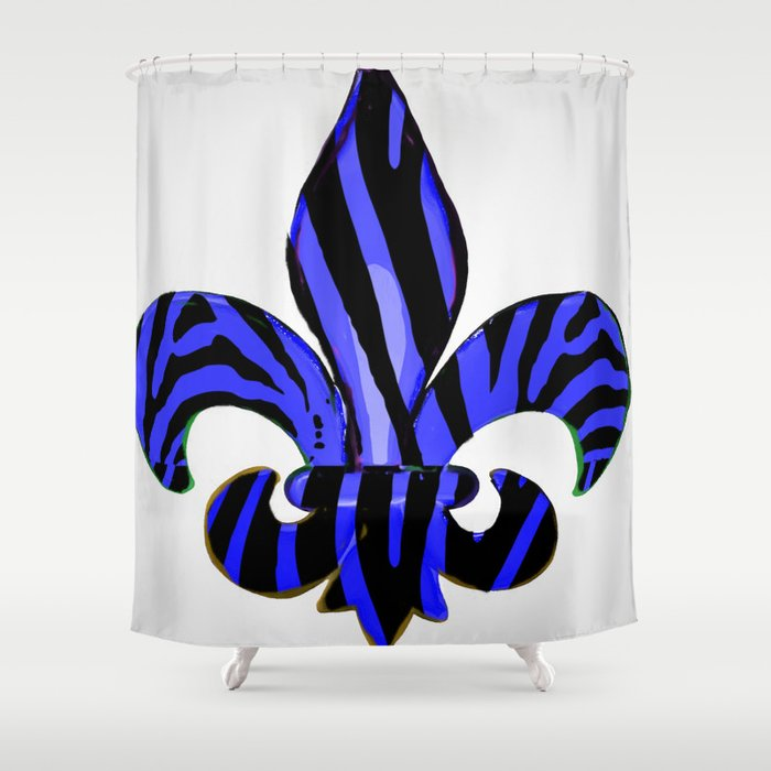 Fleur De Lis Blue Zebra Print Shower Curtain By Artbytinavaughn