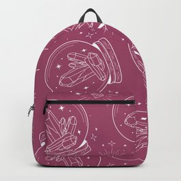 Globe with Chrystals inside in white lines on mauve Backpack
