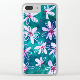 Daisy Flowers | Whimsical Watercolor Daisies on Cyan BlueTeal Clear iPhone Case