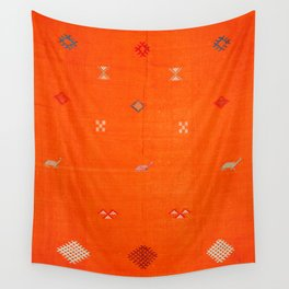 -A10- Traditional Anthropologie Moroccan orange Artwork. Wall Tapestry