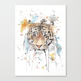 """Watercolor Painting of Picture """"Portrait of a Tiger"""" Canvas Print"""