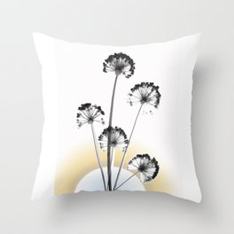 black and white flower wallpaper and the sun, flower decor, printable art Throw Pillow