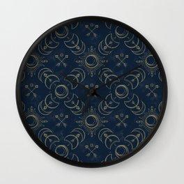 Bohemian Solar Eclipse- Gold Wall Clock