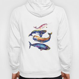 Whale Pyramid #4 - Watercolor Whales Hoody