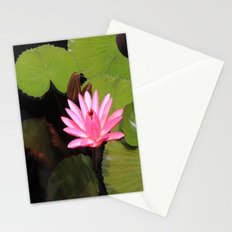 pink lily pad flower Stationery Cards