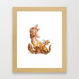 Tender moment Fox and Cub Framed Art Print