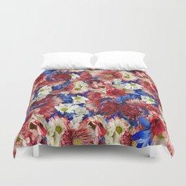 Red White Blue Flora Duvet Cover