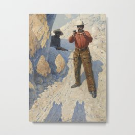 "Western Art ""The Holdup"" Metal Print"