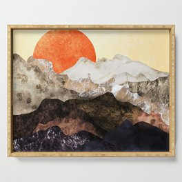 Marbled mountains by sunset Serving Tray