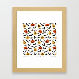 Happy Halloween pumkins, bats and spiders Framed Art Print
