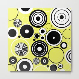 Geometric Rings On Pastel Yellow - Black and white abstract Metal Print