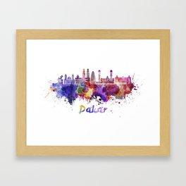 Dakar skyline in watercolor splatters Framed Art Print