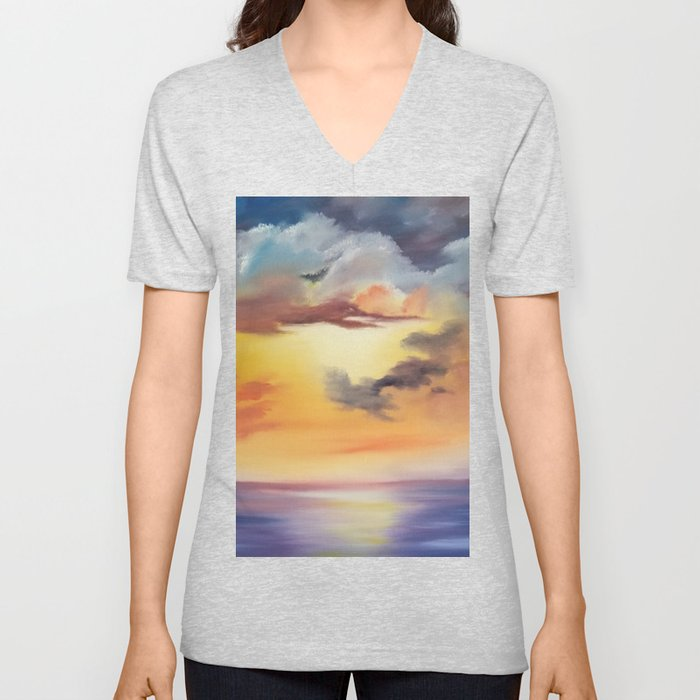 cloud dreaming, skyscape, ocean sunset, purple sunset, clouds artwork, sky painting Unisex V-Neck
