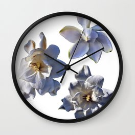 3 White Gardenias [Cecilia Lee] Wall Clock