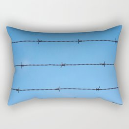 Contseptual shot of barbed wire over blue sky Rectangular Pillow