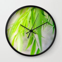 Nature photography green leaf II Wall Clock