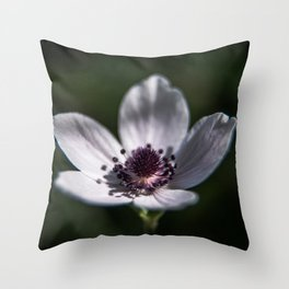White Anemone Coronaria II Throw Pillow