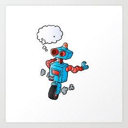 robot on wheel . Art Print