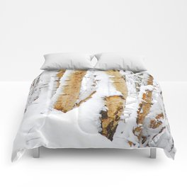 Snow Covered Birch Trees Comforters