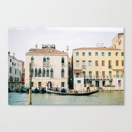 Gondola in the canals of Venice, Italy | Pastel colorful travel photography in Europe Canvas Print