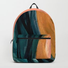 Breathe: a vibrant bold abstract piece in greens, ochre, and pink Backpack
