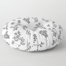 Floral White Pattern Floor Pillow
