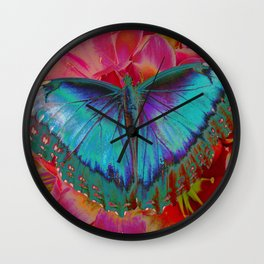 Extreme Blue Morpho Butterfly Wall Clock