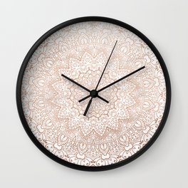 Mandala - rose gold and white marble 3 Wall Clock