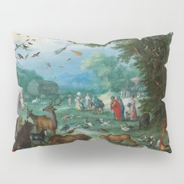 """Jan Brueghel the Elder """"Landscape of Paradise and the Loading of the Animals in Noah Pillow Sham"""