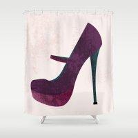 shoe Shower Curtains featuring Platform Shoe by jessicaparkhurst