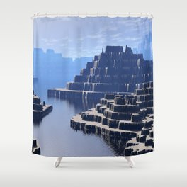 Mysterious Terraced Mountains Shower Curtain