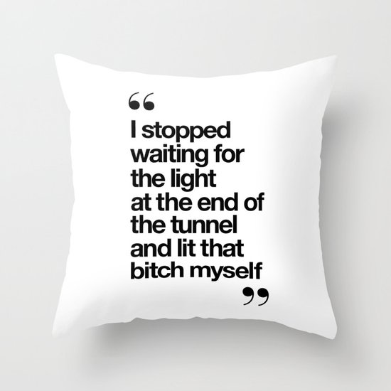 The Light at the End of the Tunnel black and white ink typography poster quote home decor bedroom by themotivatedtype